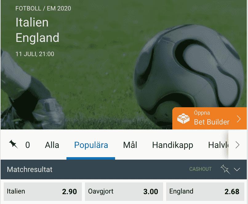 Odds EM-finalen 2021